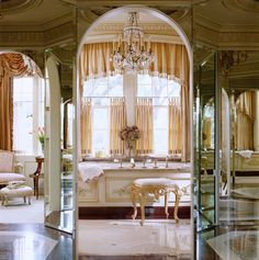 French inspired master bathroom from Traditional Home. Traditional Bathroom, Traditional House, Striped Dining Chairs, Interior Exterior, Interior Design, Antique Light Fixtures, Painted Chairs, French Farmhouse, French Country