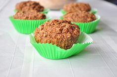 Bran Muffins  1 1/2 cups of wheat bran 1 cup spelt flour 1 cup non dairy milk (I used homemade almond. For that recipe, click here) 1/3 cup maple syrup 1 tsp vanilla 1 tsp baking powder 1 tsp baking soda 1/4 cup + 1 T applesauce 1/2 tsp salt
