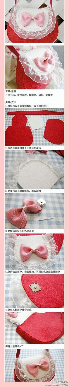 This is so cute. Though if I were to make it, I'd do it out of leather.   Lolita pretty lacy hand bag tutorial.
