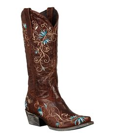 This Lane Boots Brown Embroidered Ametria Cowboy Boots by Lane Boots is perfect! #zulilyfinds