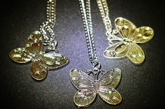 The Wings : Butterfly-shaped pendant along with chain (Image -1)      Price : INR 250 (Medium Size)  Lightweight Metal  In Stock : 3 sets    Its spring time and summer is just on the corner. Presenting butterflies to adorn your bare neck when you're flaunting during those hot days. Take a twist and match these neckpieces with your denims and statement t-shirts and pretty much everything. You'll love these cute butterflies.