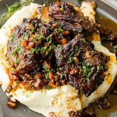 Oven Braised Short Ribs — THIS. IS. I've never fallen in love with a recipe as quickly as I did this one. I don't think I'll ever love another recipe as much as Oven Braised Short Ribs! Beef Dishes, Food Dishes, Main Dishes, Rib Recipes, Cooking Recipes, Cooking Gadgets, Shrimp Recipes, Cake Recipes, Braised Short Ribs