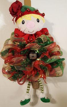 Christmas Wreath,Deco Mesh Christmas Wreath, Christmas Door Hanger, Elf Deco Mesh Tree, Elf Wreaths, Deco Mesh Elf Lighted by WEEDsByRose on Etsy