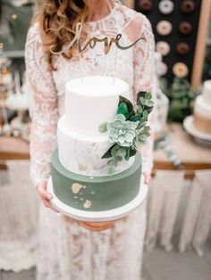 romantic sage green and white wedding cakes with glitter accents colors greenery Wedding Color Trends: 30 Silver Sage Green Wedding Color Ideas Floral Wedding Cakes, Wedding Cake Rustic, Wedding Cakes With Cupcakes, White Wedding Cakes, Elegant Wedding Cakes, Wedding Cake Designs, Trendy Wedding, Wedding White, 3 Teir Wedding Cake