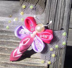 butterfly in satin ribbons -  Borboleta  em fitas de cetim Passo a Passo