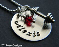 Personalized Fitness Trainer Necklace, Dumbbell, Barbell, Weightlifting, Exercise, by RosesDesigns