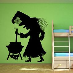 Witch And Coldren Halloween Wall Art Sticker Wall Decal