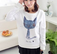 "Style:cute kawaii,cat sweater,cat t-shirt,korean fashion Fabric material:cotton blend Size:one size Sweatshirt: Bust:95cm/37.40"".sleeve length:58cm/22.83"".length:63cm/24.80"".shoulder:no limit T-shirt Length:68cm/26.77"".bust:110cm/43.30"".shoulder:no limit Tips: *Please double check abo..."