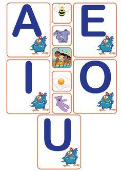 Vogais, atividades com vogais, atividades vogais galinha pintadinha, galinha pintadinha, atividade galinha pintadinha, A Abelha, E de elefante, I de índio, o de ovo, u de urso,