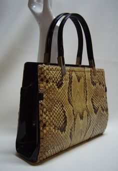 KORET 60s Python Snakeskin Handbag Purse by Vintageables on Etsy https://www.etsy.com/listing/96270462/koret-60s-python-snakeskin-handbag-purse