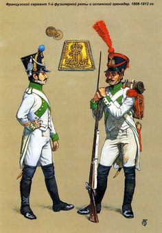French sergeant 1st fusilier companies and Spanish grenadiers. 1808-1812.