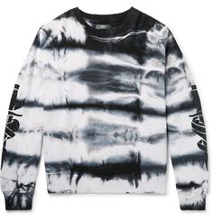 Amiri Embellished Tie-Dyed Fleece-Back Cotton-Jersey Sweatshirt Tie Dye Shirts, Tie Dye Sweatshirt, Tie Dye Fashion, Mens Fashion, How To Tie Dye, How To Wear, Mens Designer Hoodies, Tie Dyed, Fashion Online