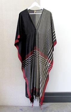 color block/stripe sari caftan