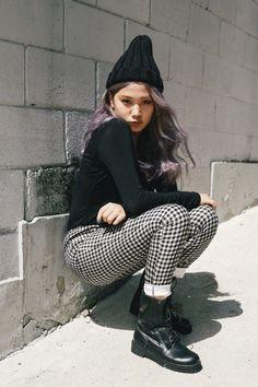 pants & shoes Purple Grey Hair, Checker Pants, Still Love Her, Pants Outfit, Sehun, Art Girl, Asian Beauty, Diamonds, Korean