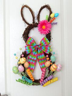 Grapevine Bunny Wreath - Easter Wreath - Spring Wreath - Rabbit wreath - Whimsical Wreath - Easter Bunny Door hanger