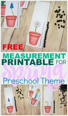 A Flower Themed Measurement Printable For Preschoolers FREE Flower Height Measurement Printable for Preschoolers - Stay At Home Educator April Preschool, Preschool Garden, Preschool Centers, Free Preschool, Preschool Themes, Preschool Learning, Kindergarten Activities, Preschool Activities, Math Centers
