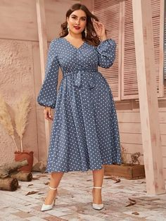 To find out about the Plus Polka-dot Lantern Sleeve Belted Dress at SHEIN, part of our latest Plus Size Dresses ready to shop online today! Plus Size Gowns, Modest Dresses, Stylish Dresses, Plus Size Dresses, Plus Size Outfits, High Fashion Dresses, African Fashion Dresses, Modest Fashion, Fashion Outfits