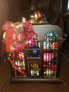 Black Wooden Bird Cage W/Vintage Ornaments Inside by VintageBarnYard on Etsy