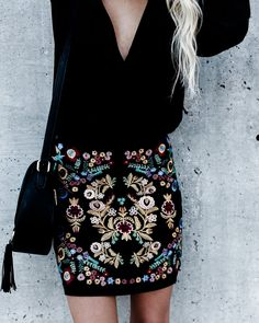 Street Festival Embroidered Mini Skirt