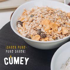 Nuestros productos #CUMEY son todo eso que has estado buscando: sabor, nutrición y practicidad. Consumirlos individualmente o en tus preparaciones es ¡fácil, rápido y delicioso!    Encuéntranos en dos presentaciones: Mix de Cereales y Mezcla integral para Pancakes  Puro sabor de la naturaleza, para ¡gente real!.  #tasty #cereal #desayuno #happy #avena #pasas #uvas  Un producto con el sello @pronalce Breakfast, Food, Raisin, Grains, Oatmeal, Searching, Morning Coffee, Essen, Eten