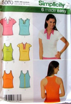 Misses T Shirts, Sewing Pattern, Simplicity 5000,  Knit T shirt and Tank Tops to Sew, Misses' Sizes 6, 8, 10 and 12, 30.5 to 34 Inch Bust by OnceUponAnHeirloom on Etsy