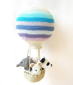 Hot air balloon crochet pattern, amigurumi balloon pattern, hot air balloon diy, crochet nursery dec - Decoration For Home Easy Crochet Patterns, Crochet Patterns Amigurumi, Crochet Toys, Crochet Ideas, Cute Crochet, Crochet Baby, Simple Crochet, Stuffed Animals, Baby Shower Balloons