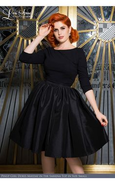 Laura Byrnes California- Sabrina Top in Black | Pinup Girl Clothing