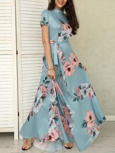 Floral Print Short Sleeve Tie Waist Maxi Dress dresses to wear to a wedding dresses short dress outfit dress dress dresses modest dresses Maxi Dresses Uk, Floral Maxi Dress, Modest Dresses, Dress Outfits, Casual Dresses, Short Dresses, Fashion Dresses, Fall Dresses, Floral Print Dresses