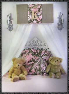"""Mossy Oak PINK Bedroom Canopy Realtree Camouflage Personalized Girls Crib nursery BuRLAP Cammo Baby Hunter WHITE sheer curtains Bed So Zoey Boutique SaLe. Handmade Burlap custom REALTREE/Mossy Oak bedroom/nursery canopy. We are excited to be expanding our home decor selection NEW creations. Offered in 24"""" or 30"""". The canopy in the listing (shown in first photo) is 24"""" over a twin/full-crib sized bed. MANY OTHER fabric panels ARE AVAILABLE TOO!!! Boys colors also!!!! Bedding offered at..."""