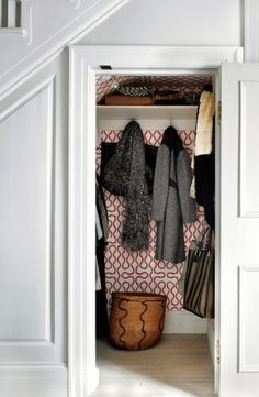 Wallpaper in closet - VERANDA editor in chief Dara Caponigro chose Vivienne Westwood for Cole Son wallcovering for her hall closet, image via WSJ Interior, Coat Cupboard, Closet Wallpaper, House Interior, Closet Hacks Organizing, Closet Under Stairs, Closet Turned Office, Wall Coverings, Closet Design