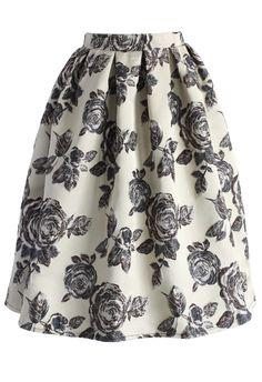 Glowing Rose Intarsia Midi Skirt
