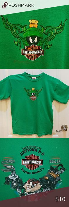 Harley Davidson T-shirt Youth Extra Large T-shirt with Marvin the Martian and Looney Toons Characters  Daytona Beach dealership.  Smoke free home. Harley-Davidson Shirts & Tops Tees - Short Sleeve