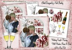 KISSING WEDDING COUPLE WITH PINK ROSES WINDOW 8X8 MINI KIT on Craftsuprint designed by Nick Bowley - KISSING WEDDING COUPLE WITH PINK ROSES