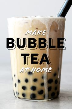 Yes, bubble tea can be made at home! A decadent bubble tea recipe made with black tea, chewy tapioca balls, and topped with a decadent cream froth. Non Alcoholic Drinks, Tea Drinks, Beverages, Cocktails, Tea Recipes, Recipies, Boba Tea Recipe, Bartender Recipes, How To Make Bubbles
