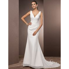 Trumpet/Mermaid V-neck Court Train Chiffon Wedding Dress