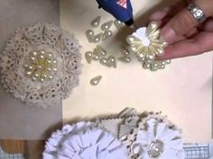 Shabby chic christmas tree lace ideas for 2020 Cloth Flowers, Burlap Flowers, Beaded Flowers, Diy Flowers, Fabric Flowers, Wedding Flowers, Shabby Chic Flowers, Shabby Chic Crafts, Vintage Flowers
