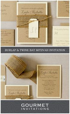 Our rustic invitations were designed for a bat mitzvah but would be perfect for a rustic wedding too. Burlap is wrapped around the invitation with twine! PIN to your own boards and CLICK through to see the entire suite. Brown Wedding Invitations, Rustic Invitations, Invitation Design, Wedding Stationery, Invites, Chocolate Brown Wedding, Barn Wedding Inspiration, Barn Wedding Decorations, Bat Mitzvah Invitations