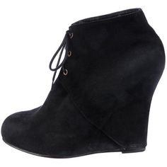 Pre-owned Opening Ceremony Ankle Boots ($125) ❤ liked on Polyvore featuring shoes, boots, ankle booties, black, short black boots, black suede ankle booties, suede ankle boots, black ankle boots and suede lace-up booties