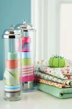 Ideas to organize your sewing room :: use a soda straw dispenser as ribbon storage Ribbon Organization, Ribbon Storage, Craft Organization, Craft Storage, Tape Storage, Storage Ideas, Creative Storage, Organizing Ideas, Budget Storage