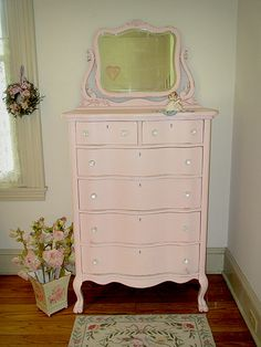 Pink Antique Dresser with Mirror