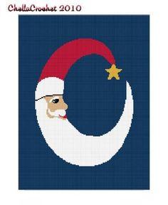 Christmas Santa Claus Crescent Moon Afghan