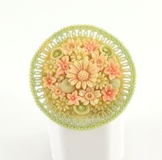 Celluloid Jewelry | Vintage Flower Brooch, Celluloid Plastic Jewelry, Made in Japan, 1930s ...