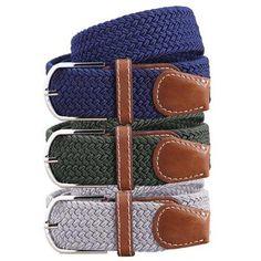 BMC Mens Wear 3pc Stretchy Woven Design Adjustable Belt Set - Natural Neutrals