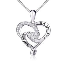New Jewelry 925 Sterling Silver Heart Pendant Necklace Women Christmas Gift Love #SILVERMOUNTAIN #Pendant