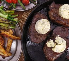 Steaks with Blue Tarragon Butter and Charred Green Onions