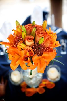 Sand Petal Weddings offers the convenient rental service of beach style centerpieces for ease to the traveling destination bride. Beach Wedding Reception, Wedding Reception Centerpieces, Bridal Showers, Wedding Things, Tablescapes, Mason Jars, Wedding Ideas, Table Decorations, Orange