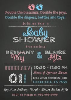 Baby shower invitation twin baby shower invite comes is three joint baby shower invitation combined twin boy and girl filmwisefo Image collections