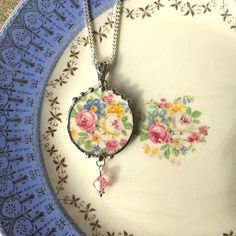 Broken china jewelry pendant necklace swarovski crystal pink and white roses and forget me nots