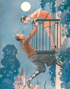 Romeo & Juliet lighting one another's cigarettes. Illustration from La Vie Parisienne, June 16, 1928 by Valdes