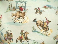 Brown cowboys on aqua